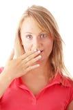Beiläufige kaukasische blonde Frau überrascht Stockfotos