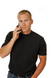 Beiläufiger Geschäftsmann, der auf einem Handy spricht Stockfoto