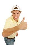Beiläufiger junger Mann Thumbsup Stockfoto