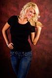 Beiläufiges blondes Frauen-Art- und Weisebaumuster Stockfotos