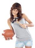 Beiläufiges Mädchen mit Geldkasten Stockfotografie