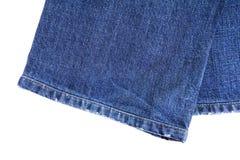 Bein des blauen Baumwollstoffs Lizenzfreie Stockfotografie