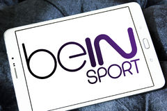Bein sport logo. Logo of sports television network bein sport on samsung tablet Royalty Free Stock Photos