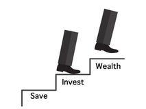 Beine auf Treppenkonzept für Schritt von Abwehr zu Reichtum Stockfotos