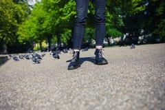Beine der jungen Frau im Park Lizenzfreie Stockfotos