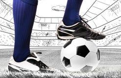 Beine eines Fußballspielers Stockbilder
