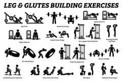 Beine und glutes, die Übung und errichtende Stockzahl Piktogramme des Muskels errichten lizenzfreie stockfotos