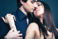 Being in affair. Close-up image of a passionate couple being in affair stock image