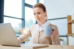Busy manager preparing significant report Royalty Free Stock Images
