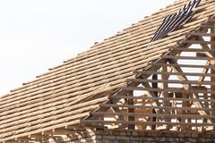 Being built roof of the house. In the park in nature Royalty Free Stock Images