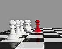 Being different. Illustration with chess board and seven piece of chess isolated on grey Royalty Free Stock Photo
