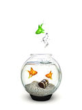 Different, Green fish jumping out of a fishbowl of ordinary goldfish. Being different,freedom,motivation, standing out from the crowd concept Stock Images