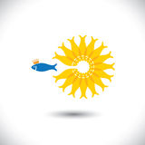 Being different, showing grit, taking risk. For success - concept vector. This fish graphic also represents enterprising attitude, courage & being bold, chase Stock Photo