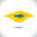 Being different, taking risky, bold move for success in life - C. Oncept vector. The graphic of fishes also represents the concept of courage, boldness Royalty Free Stock Images