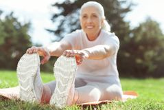 Selective focus of elderly womans feet Stock Images