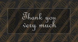 Thank you very much. Being grateful and sending a card: Thank you very much! Beautiful silver letters over stylish background Stock Images