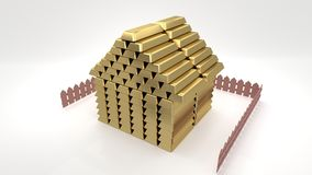Small cartoon-like house made of golden bars on a white background, isolated