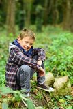 Being like forest, revitalizing and constantly growing. Small boy relax in forest. Small boy on forest scenery. Dont. Walk in forest alone royalty free stock images