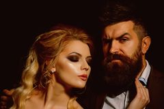 Being in love. Couple of man and woman date on valentines day. Bearded man and woman on first date. Couple in love royalty free stock photography