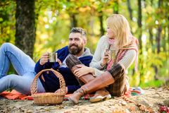 Being in love. love date and romance. Spring mood. camping and hiking. cheers. couple in love relax in autumn forest. With tea or coffee. happy women and royalty free stock images