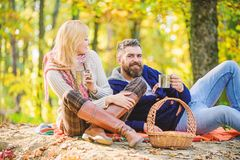 Being in love. love date and romance. Spring mood. camping and hiking. cheers. couple in love relax in autumn forest. With tea or coffee. happy women and stock images