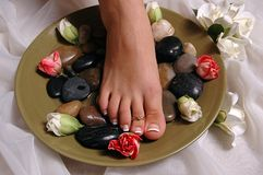 Being pampered. A foot in a spa Royalty Free Stock Photography