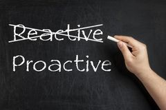 Being Proactive not Reactive crossed blackboard chalkboard. Being Proactive not Reactive crossed on blackboard or chalkboard Stock Photos