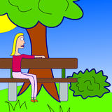 Being a single woman. Single woman sitting on a bench in a park Stock Illustration
