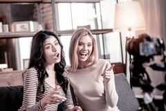 Inspired female bloggers recording a video stock images
