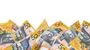 Beira australiana do dinheiro sobre o branco imagem de stock