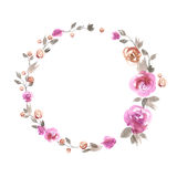 Beira bonito da flor da aquarela Fundo com rosas cor-de-rosa ilustração stock