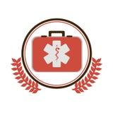 a beira circular com ornamento sae com o kit de primeiros socorros com símbolo da saúde com serpente entrelaça-se Fotografia de Stock