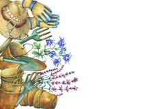 Beira com ferramentas de jardinagem, o chapéu solar, as luvas, os potenciômetros da planta da terracota e as flores Pá, ancinho,  ilustração stock