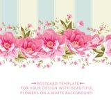 Beira cor-de-rosa ornamentado da flor com telha ilustração royalty free