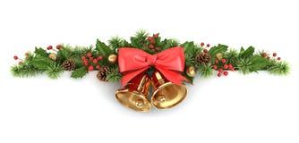 Beira da árvore do azevinho e de Natal. Fotografia de Stock Royalty Free