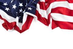 Beira da bandeira americana isolada em branco - imagem foto de stock royalty free