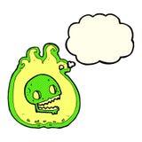 beira da chama do Dia das Bruxas dos desenhos animados com bolha do pensamento Imagens de Stock
