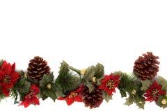 Beira da decoração do Poinsettia e do Natal Fotografia de Stock Royalty Free