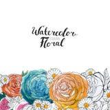 Beira da flor da aquarela Foto de Stock Royalty Free