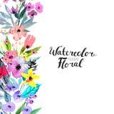 Beira da flor da aquarela Imagem de Stock