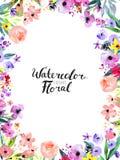 Beira da flor da aquarela Fotografia de Stock Royalty Free