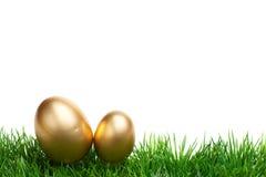 Beira da grama da Páscoa, ovos dourados, isolados no branco Foto de Stock Royalty Free
