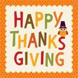 Beira da laranja da coruja do cartão de texto da ação de graças Fotografia de Stock