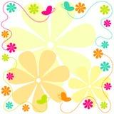 Beira das borboletas e das flores do vôo ilustração do vetor