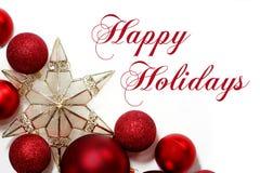 Beira das decorações do Natal com texto boas festas Imagens de Stock