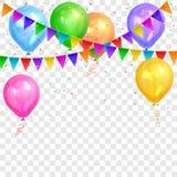 Beira de balões do hélio e de festões coloridos realísticos das bandeiras Foto de Stock Royalty Free
