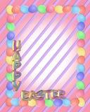 A beira de Easter eggs o texto 3D Fotografia de Stock Royalty Free