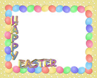 A beira de Easter eggs o texto 3D Fotos de Stock Royalty Free