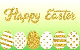 A beira de Easter eggs o texto 3D Imagens de Stock