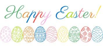 A beira de Easter eggs o texto 3D Imagem de Stock